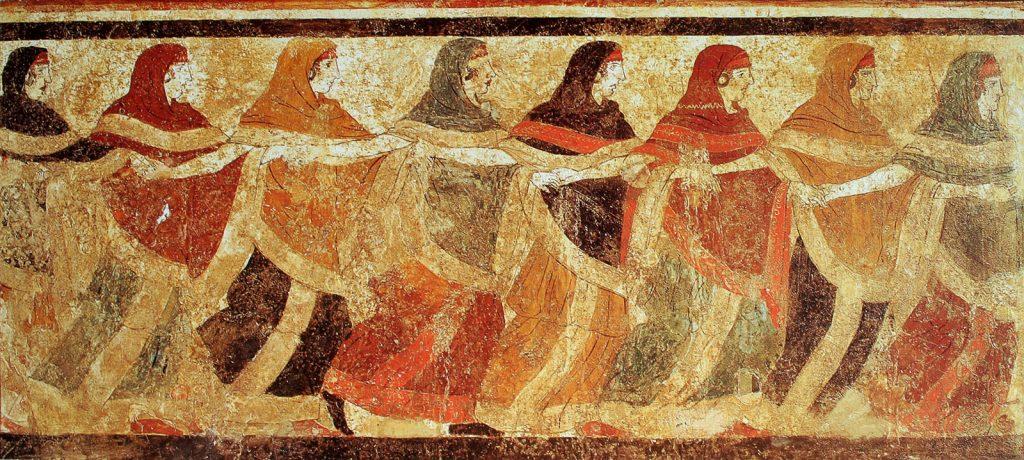 Femei din tribul peucet dansand in Mormantul dansatoarelor din Ruvo di Puglia, sec. IV-V î.HR © Le Musée absolu, Phaidon, wikipedia.org