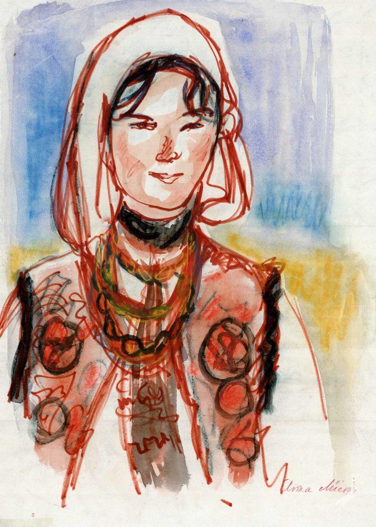 Elvira Micoș, Marmureșancă, creioane color și acuarelă, carton subțire, 45x32 cm, courtesy Năsui Collection
