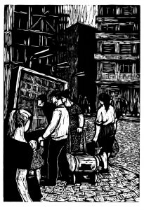 Eraclida Vreme Xenia, Proiectul prinde viață, 1961, woodcut, 34x48,5 cm, courtesy Năsui Collection