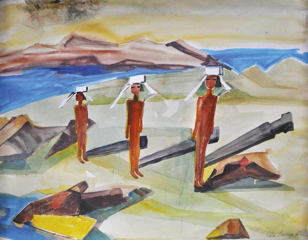 Maria Fratostiseanu Billek, Plajă în Franța, acuarelă, 68x50 cm, 1963
