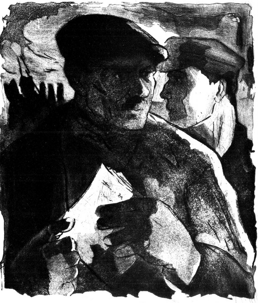 Natalia Matei, În ilegalitate, 1960, aquatint 34x45 cm, courtesy Năsui Collection