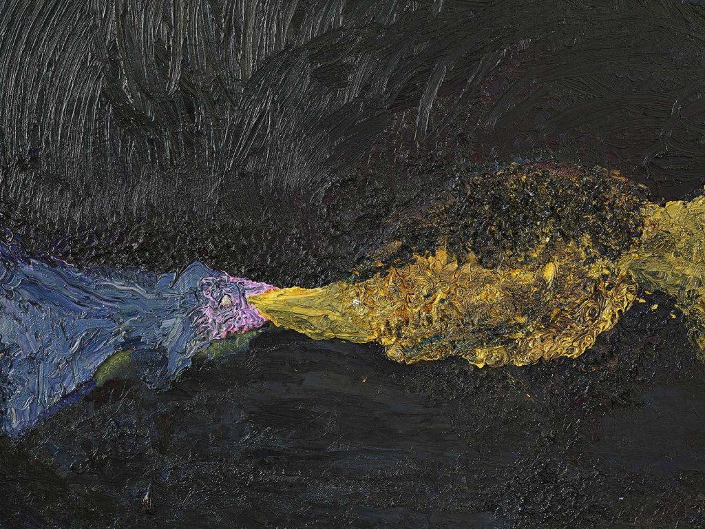 Ecaterina Vrana - Sărut la 40 de ani (Pestii) – detaliu – ulei pe pânză, colecția MARe/Muzeul de Artă Recentă, foto – Alexandru Paul