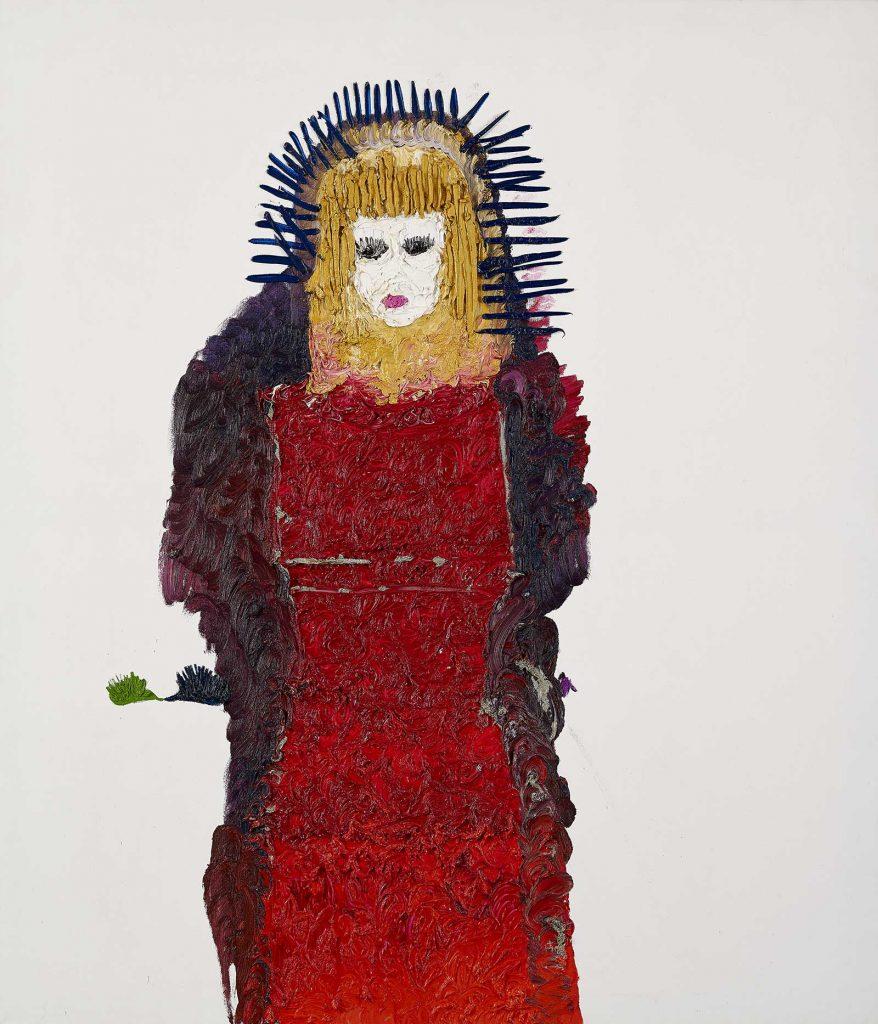 Ecaterina Vrana - Autoportret cu arici (... și rochia roșie) – ulei pe pânză, colecția MARe/Muzeul de Artă Recentă, foto – Alexandru Paul