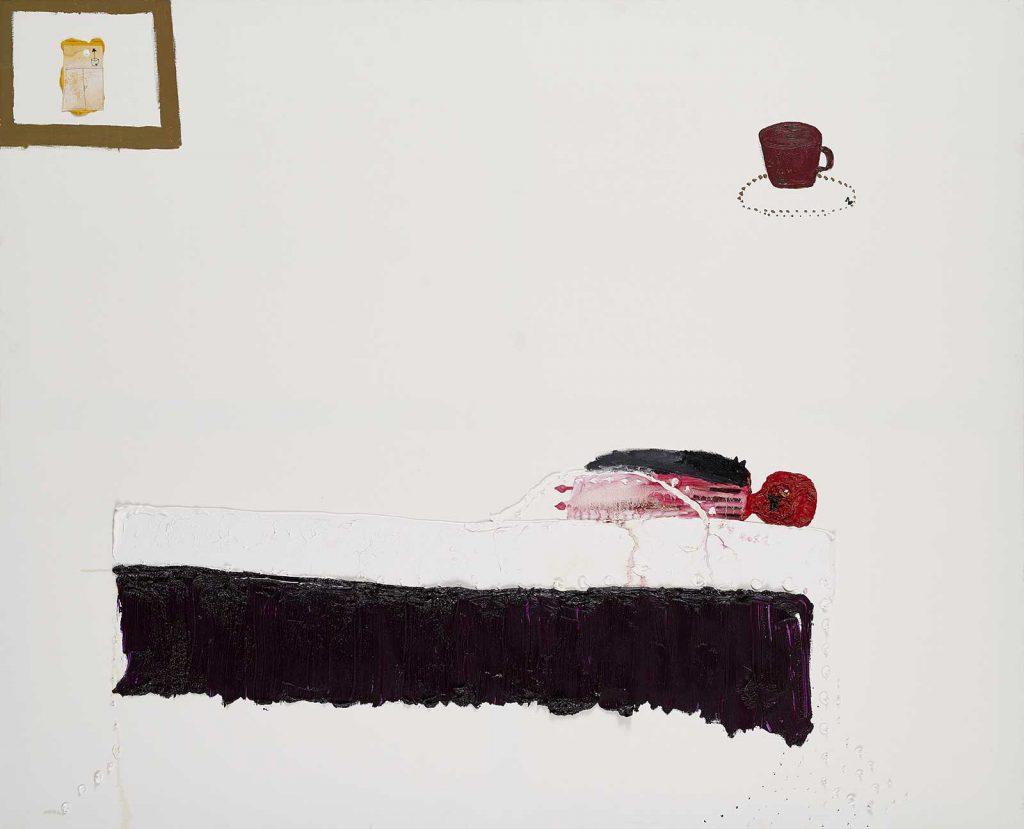 Ecaterina Vrana - Omul care doarme. Iulică trezindu-se din somn, ulei, creion și hârtie pe pânză, colecția MARe/Muzeul de Artă Recentă, foto – Alexandru Paul