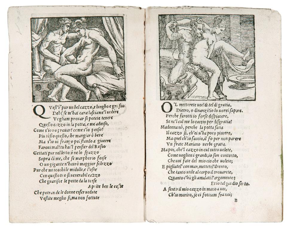 Pietro Aretino e anonimo xilografo veneziano, Sonetti lussuriosi, 1537 50. Collezione privata